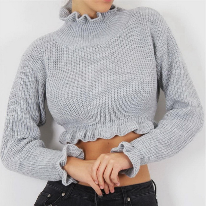HTB1cpWpXmtYBeNjSspaq6yOOFXa0 - Female Knitted Sexy Crop Top Red Long Sleeve Top Streetwear PTC 301