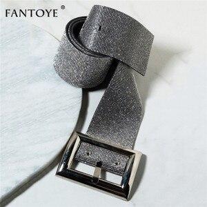 Image 2 - Fantoye 2019 Neue Strass frauen Gürtel Mode Shiny Diamant Kristall Bund Weibliche Luxus Gold Silber Taille Party Gürtel