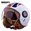 Marca Beon casco de la motocicleta, vespa eléctrica de la bicicleta casco abierto, British flag vintage 3/4 capacete, ECE aprobado moto casco