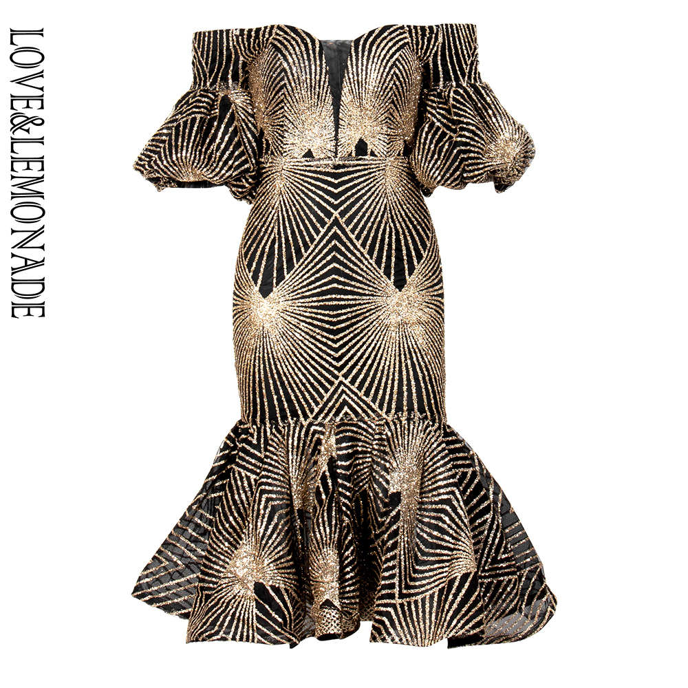 LOVE LEMONADE Sexy Tube Top Strapless Geometric Pattern Glitter Glued Bodycon Party Dress LM90056 BLACK GOLD