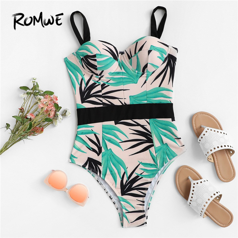 Romwe One-Piece Swimsuit Tropical-Leaf Underwire Women Push-Up Sport Summer Print Bustier-Straps