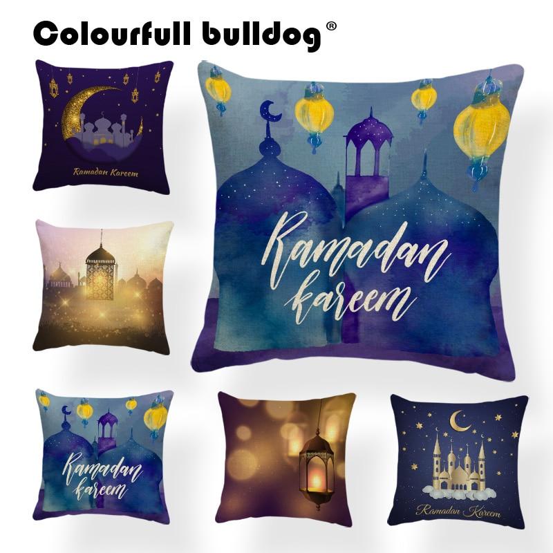 Shiny Fairy Tale Castle Throw Pillowcases Pretty Ramadan Lantern Clouds Star Cushion Covers Moon Candle Throw Pillows Decor Home