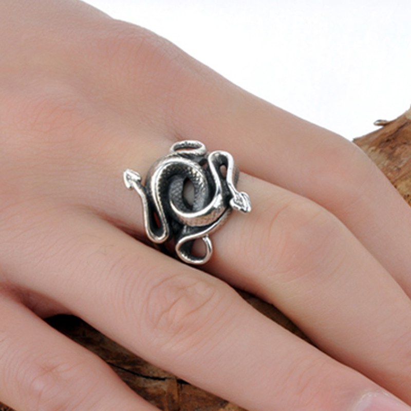 Real 925 Sterling Silver Rings Snake For Men Natural Born Killers Double Head Thai Silver Jewelry Vintage Christmas Gift 2018