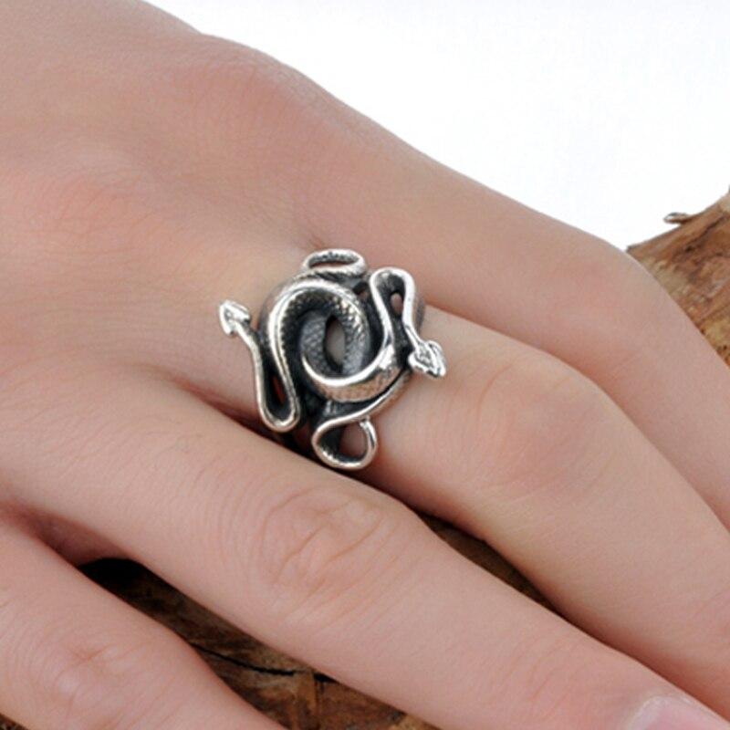 Vrais anneaux en argent Sterling 925 serpent pour hommes naturel tueurs de naissance Double tête bijoux en argent thaïlandais cadeau de noël Vintage 2018