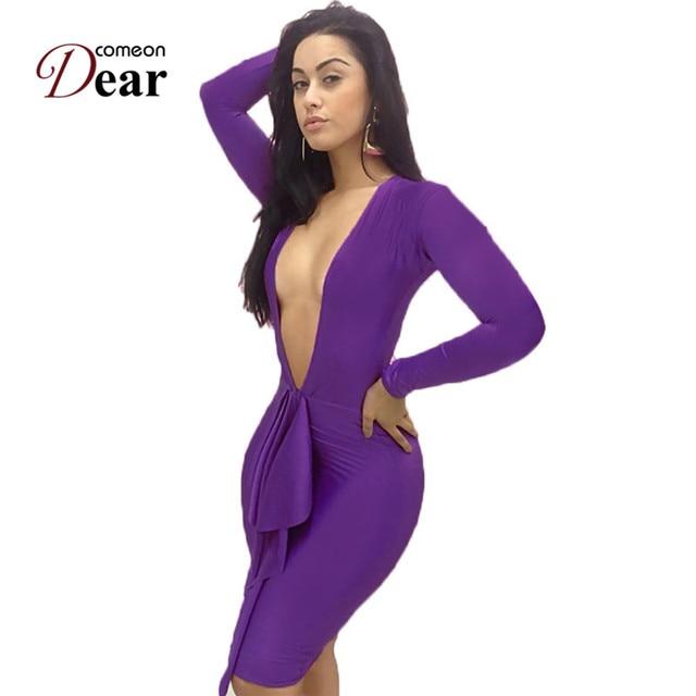 30abe5bf41e26 Comeondear Sexy Deep V-Neck Sheath Solid Women Bodycon Bandage Dress Long  Sleeve Bodycon Dresses Hot Sexy Club Autumn Dress