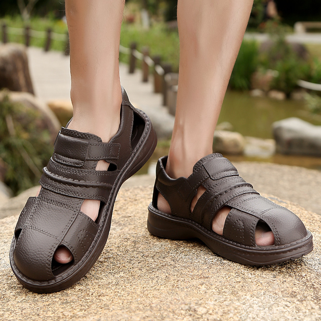 Classic Mens Leather Summer Sandals Walking Hiking Trekking Trail Shoes Casual