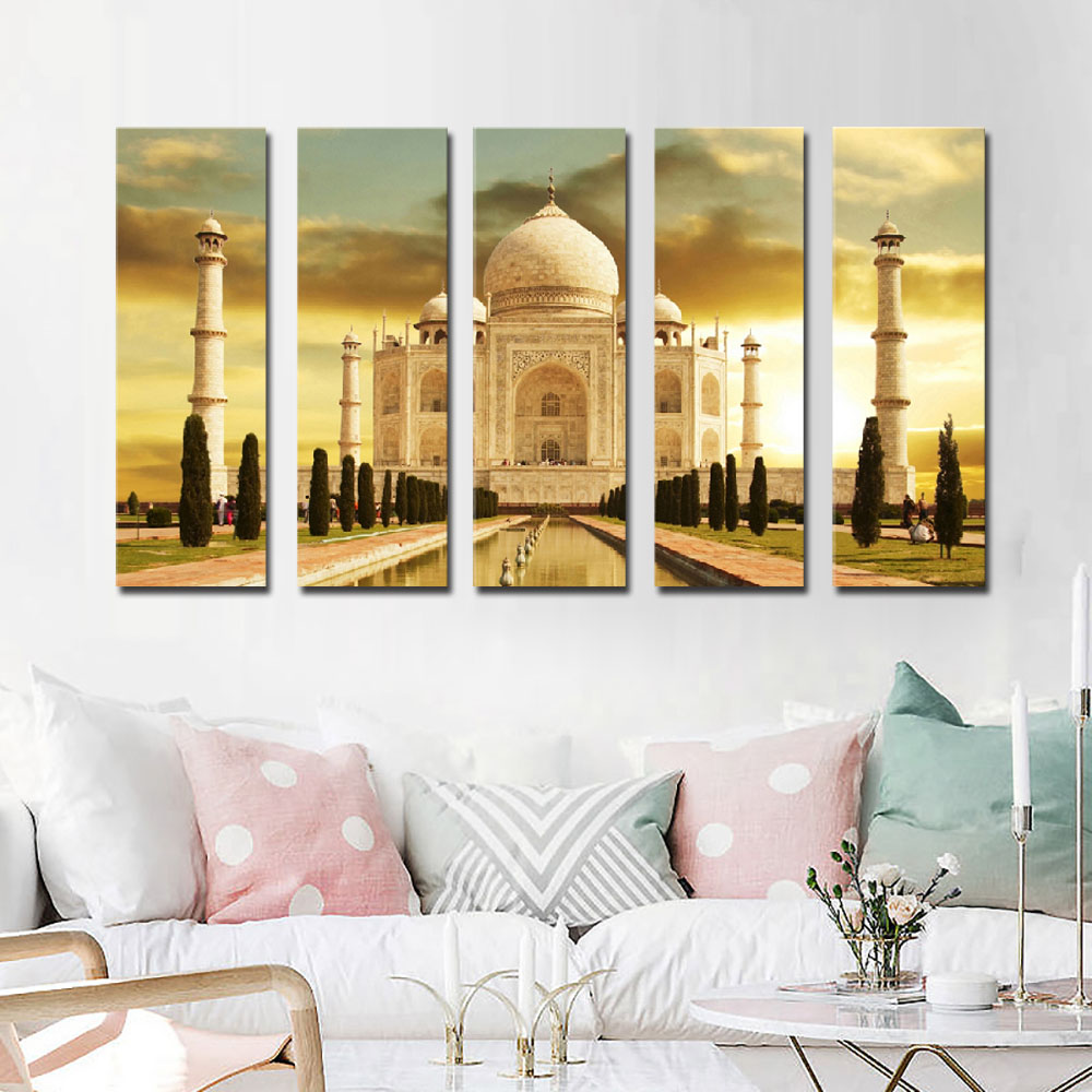 Famous Tourist Attraction India Taj Mahal Canvas Printings Ancient Architecture Canvas Painting Building Landscape Wall Picture architecture