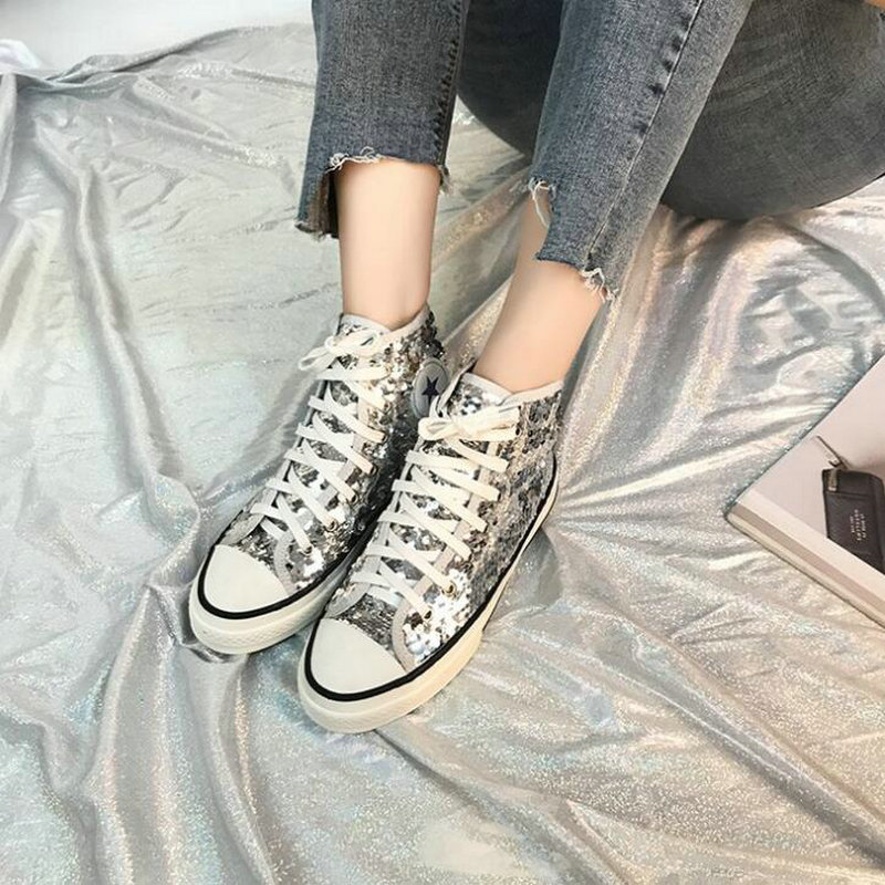 Tleni 2018 New High Top White Women Flats running Shoes Ladies Canvas Shoes lace-up Bling Bling sneaker shoes ZK-20 4