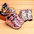 2016 Crianças Sapatos de Couro, Sola Macia Sapatas Dos Miúdos Do Esporte, Estrelas Meninas Sapatos À Prova D' Água, meninos Trainer
