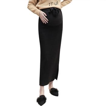 0613ae38c El embarazo ropa de primavera otoño coreano de maternidad de moda vientre  Falda de punto de lana Stretch faldas para las mujeres embarazadas C701