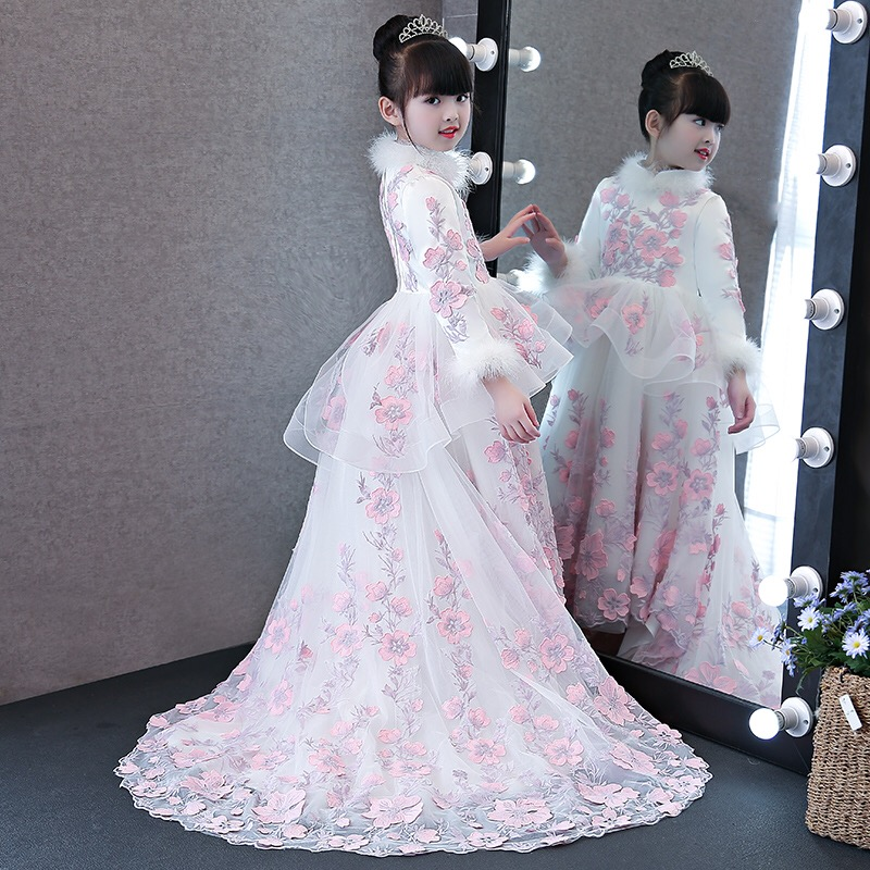 2017baby girls elegant flowers princess dresses children kids long tail  evening ball gown birthday party wedding christmas dress - aliexpress.com -  imall. ... 88284c1dadfa
