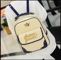 SJ Kpop 2016 Super Junior Fashion Korea Backpack Imperial Crown Mark Super Junior Bronzing Logo PU