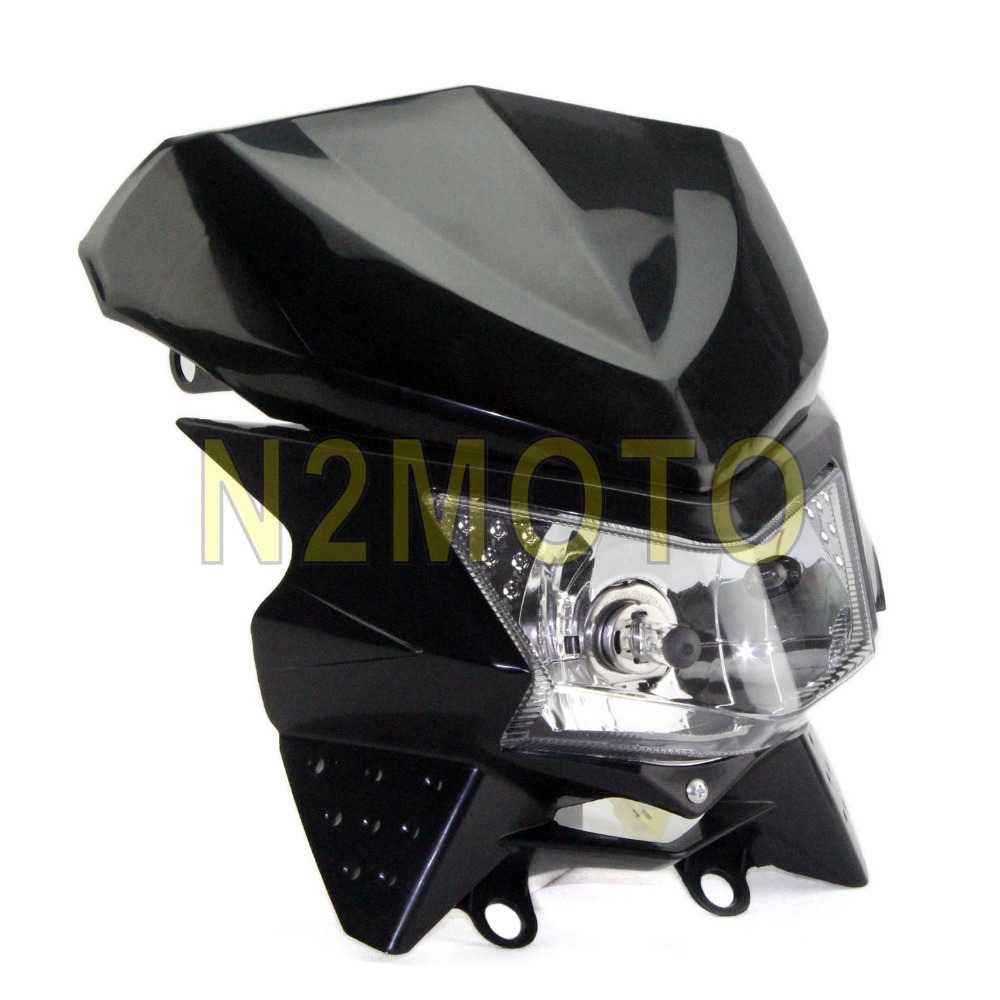 Universal Dirt Bike Headlight Head Lamp Fairing For Honda Kawasaki Yamaha Suzuki Black HILO Beam