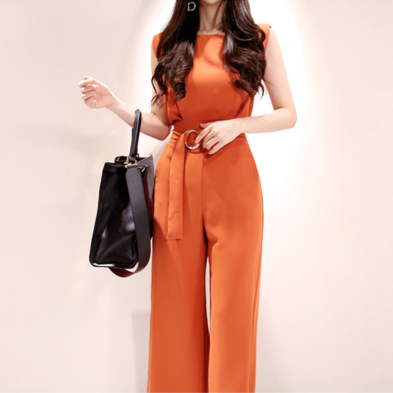 jumpsuit women Summer Office Lady Casual female wide leg overalls Fashion   Rompers   With Sashes