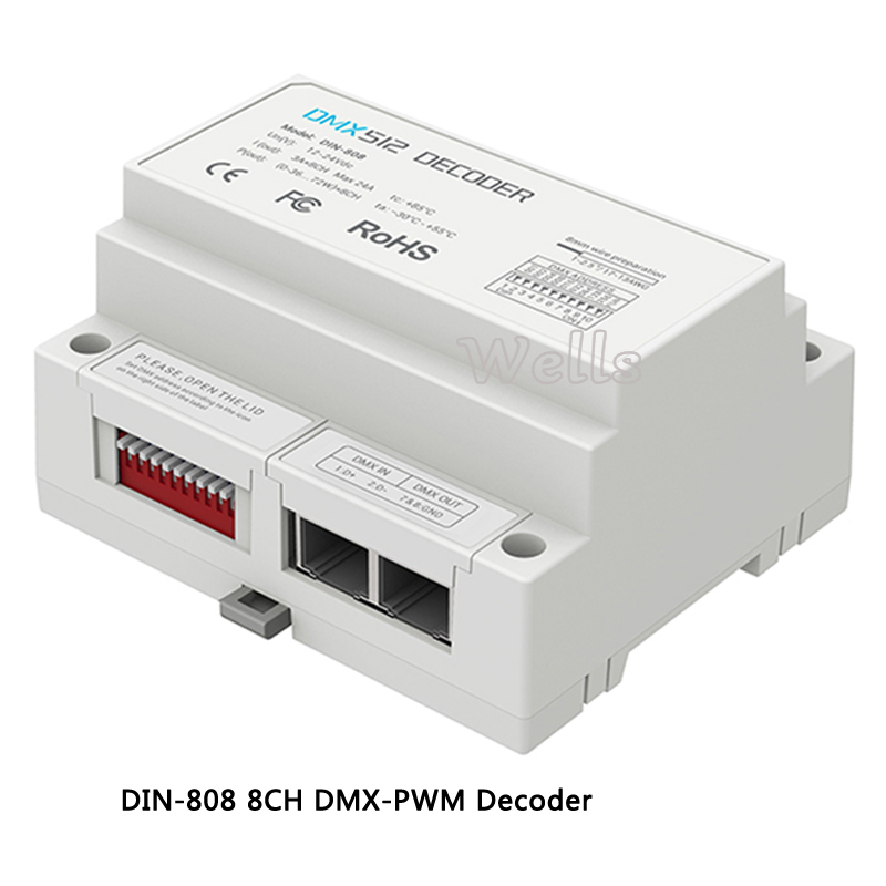 LTECH DIN-808;8CH DMX-PWM Decoder;DC12-24V input;3A*8CH Max 24A output led comtroller for led strip light dmx512 digital display 24ch dmx address controller dc5v 24v each ch max 3a 8 groups rgb controller