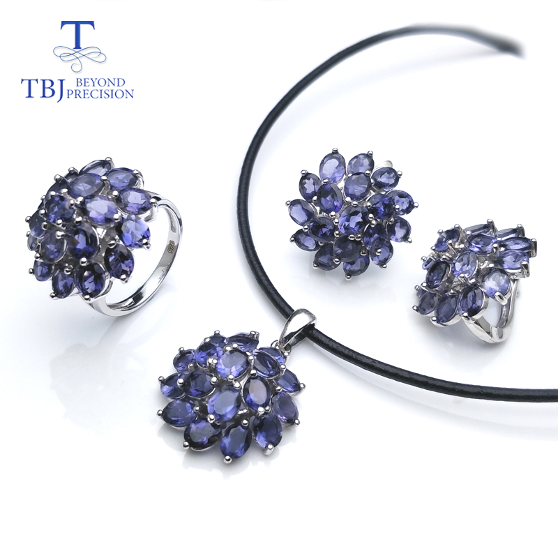 TBJ Elegance natural iolite gemstone jewelry set in 925 sterling silver best ring pendant earring for