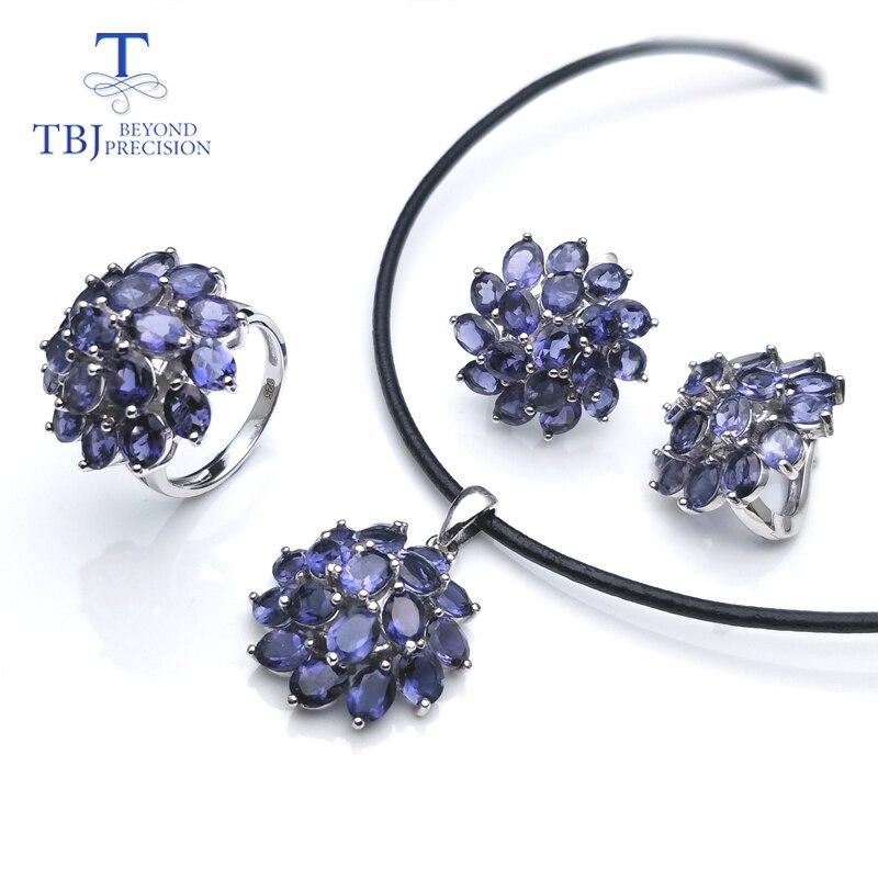 TBJ... conjunto de joyas de piedras preciosas de iolita natural de elegancia en plata de ley 925-in Conjuntos de joyería from Joyería y accesorios    1