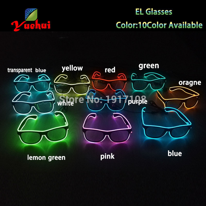 10 COLOR Trendy EL Glasses EL Wire Fashion Neon LED Light Up Sun Glasses For Party Decoration with DC-3V Steady On Inverter