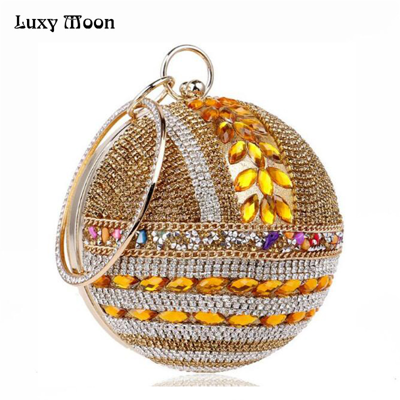 Designer Round Ball Evening Clutch Bag Gold Diamond Purse Handbag Women Wedding Bridal Golden Crystal Diamond Chain Clutch ZD565