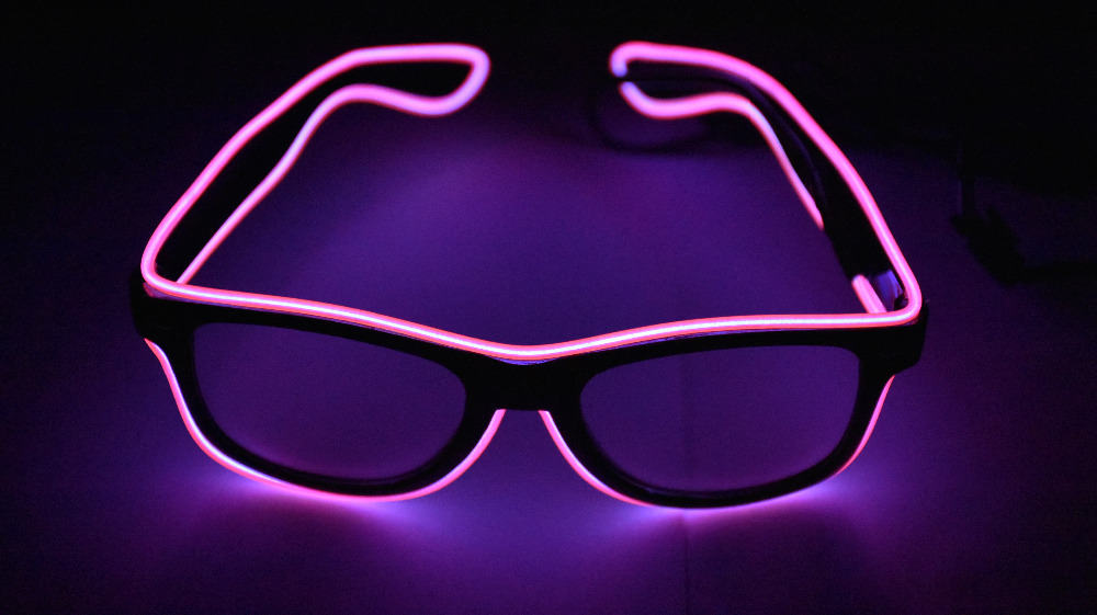 EL glasses EL Wire Fashion Neon LED Light Up Shutter Shaped Glow Rave Costume Party DJ Bright SunGlasses new arrival colorful neon led bulbs melbourne shuffle dance costume night lamp el wire bright ghost step suit for concert party