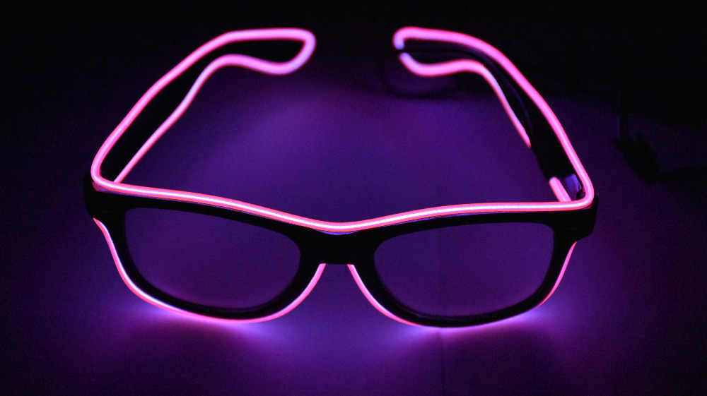 7ef8606476 EL glasses EL Wire Fashion Neon LED Light Up Shutter Shaped Glow Rave  Costume Party DJ
