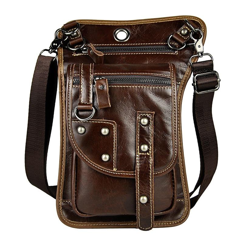 Retro Oil Wax Men Waist Bag 7 Inch Rivets Punk Shoulder Phone Bag Pack With Hooks Vintage Hip Bum Belt Pouch Fanny Pack парафин oneball x wax 5 pack assorted
