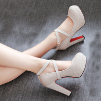 SARAIRIS Brand 2019 Elegant wedding Big Size 43 High Heels Party women Shoes Woman Sexy Platform ankle strap Pumps Stiletto