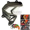 Motorcycle Scooter Front Sprocket Cover Panel Left Engine Guard Chain Cover Protection Black For Kawasaki Z800 2013-2016