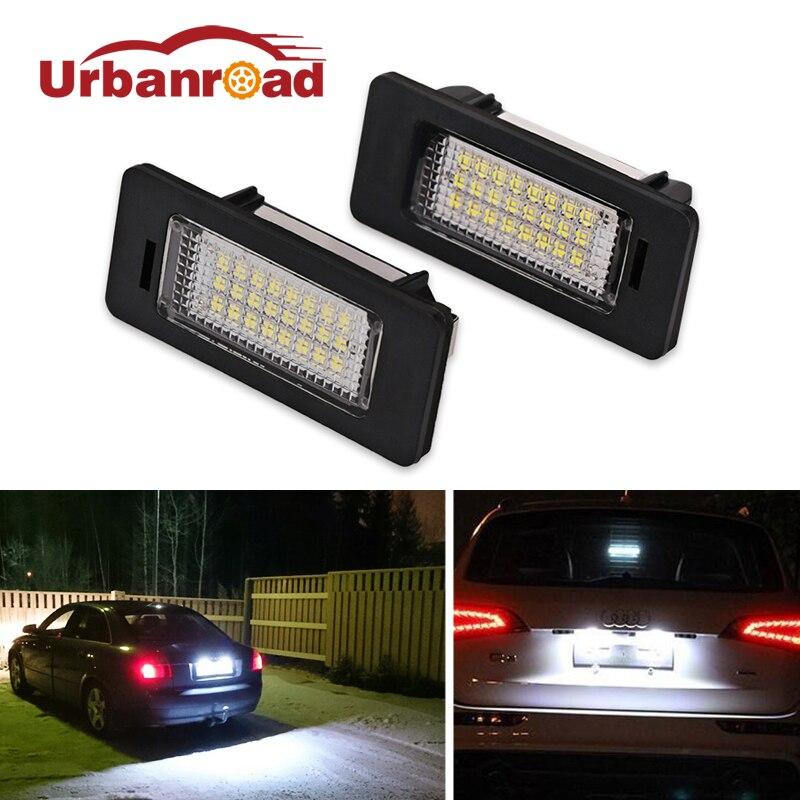 2шт/пара авто из светодиодов номерной знак света лампы лампы освещения для Audi Q5 светодиодный номерного знака свет для А4 А5 А6 А7 ТТ ТТС