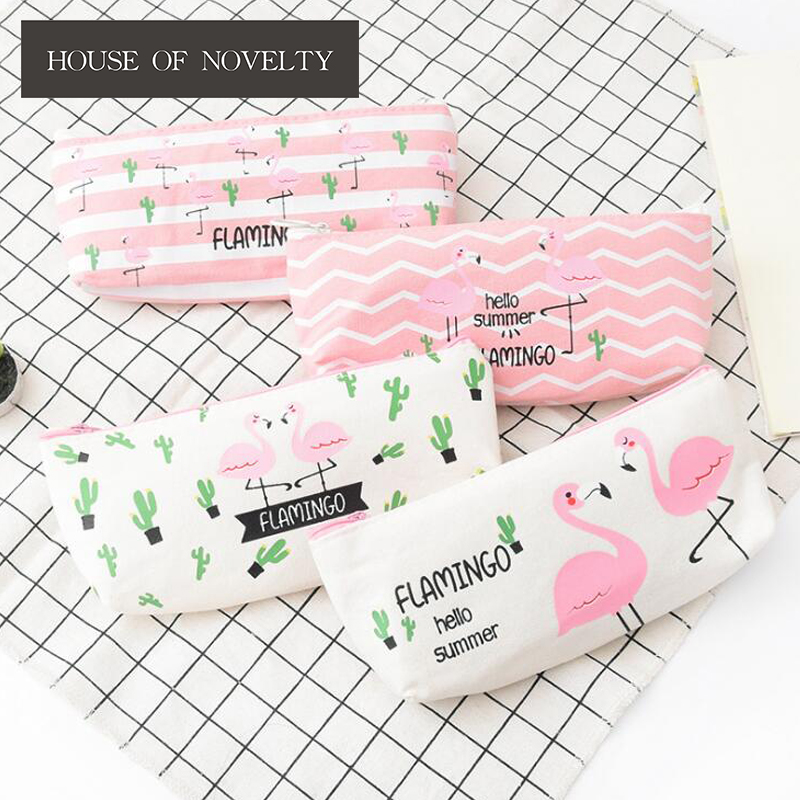 Fresh Pink Flamingo Canvas Pencil Bag Stationery Storage Organizer Bag School Office Supply Escolar Papelaria