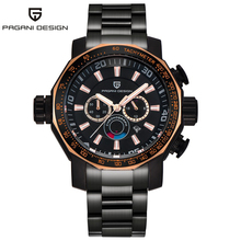 PAGANI Design top brand luxury fashion large dials black stainless steel mens watches waterproof function quartz wrist watch men