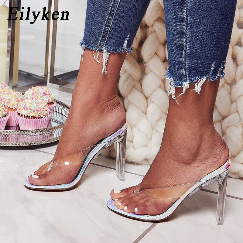 Eilyken 2019 New PVC Jelly Champagne Silver Crystal Sexy Slippers Thin Heels  Women Transparent Heel Sandals 0ca2f14adea4