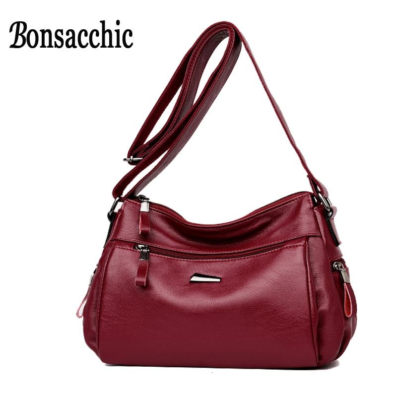 Bonsacchic Red Artificial Leather Crossbody Bag Hobos Ladies Handbags Small Clutch Purse Bags Women Shoulder Bag Female Sac