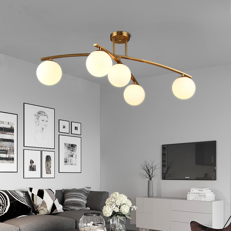 LED Post-modern Simple Nordic Living Room E14 Light Restaurant Lamps Bedroom Ceiling Lighting Iron Crafts Glass Ceiling Lights
