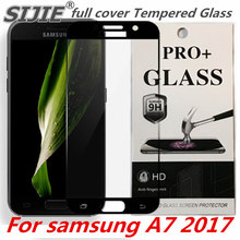 full cover Tempered Glass For samsung A7 2017 A720 A720F A720F/DS Duos Screen protective black Gold 5.7 inch toughened frame защитное стекло interstep full screen cover 0 3мм sams a7 2017 a720 black
