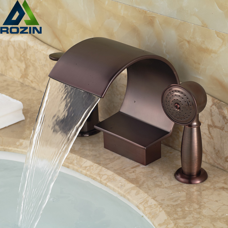 Oil Rubbed Bronze Single Handle Waterfall 3pcs Bath Tub Faucet Widespread Bathroom Sink Hot Cold Water Tap