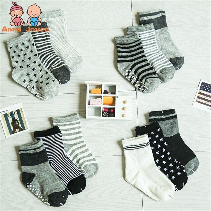 ( 12 Pairs/lot ) 100% Cotton Baby Socks Rubber Slip-resistant Floor Socks Small Kid's Socks 1--2yearsatws0010