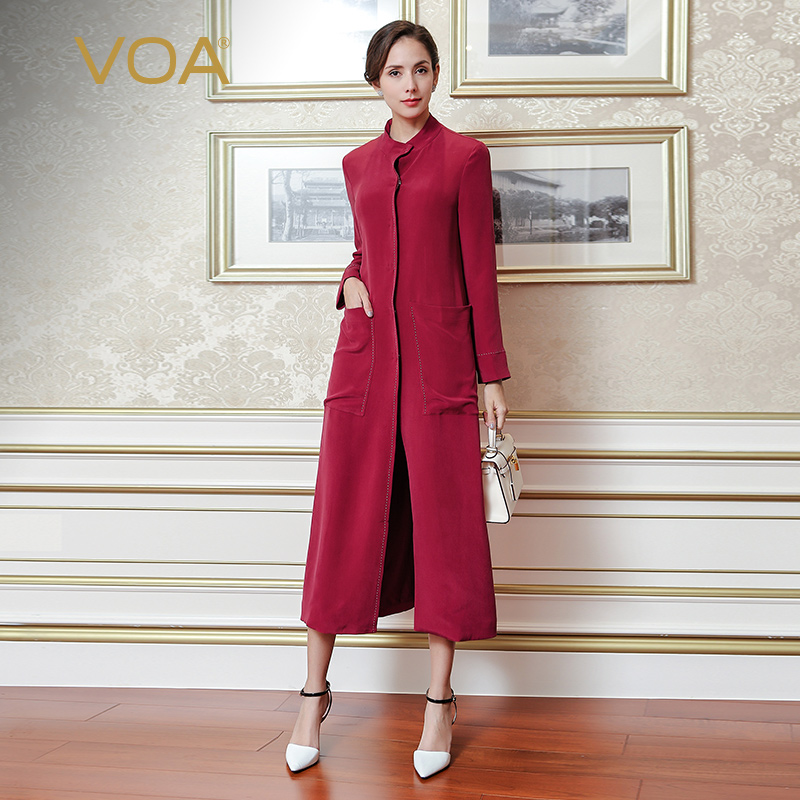 VOA 2018 Autumn Heavy Silk   Trench   Coat Wine Red Long Sleeve Overcoat Plus Size Women Clothes Ladies Straight Windbreaker S7278
