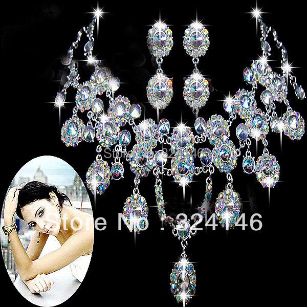Nuevo Magnífico Multicolor AB color de Cristal de Joyería nupcial conjunto de joyas de Cristal para Las Mujeres joyería de la Boda establece Accesorios