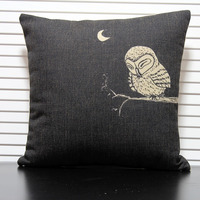 Owl pillow cover, love pillow cover, Simple hand-painted Owl animal cotton linen throw pillow cover No Core