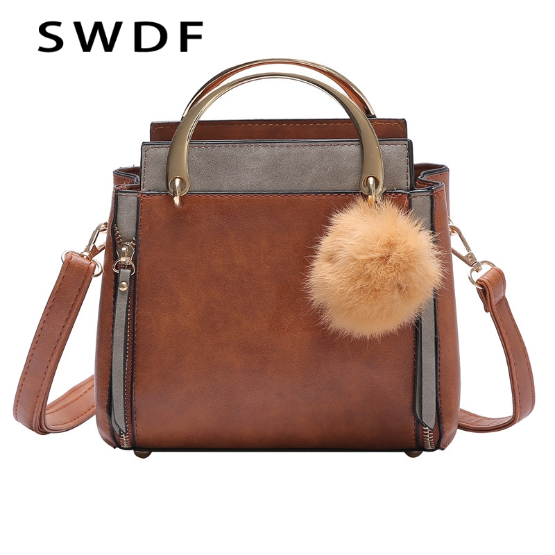 SWDF Women Winter Quality Shoulder Bags Handbag Patchwork Fur Ball Candy Color Women Bag Female Ladies Messenger Cross Body Bags