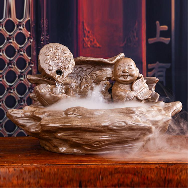 Handgefertigte Keramik Wasser Ornamente Chinesischen Retro Schreibtisch Zerstubung Luftbefeuchter Feng Shui Glc