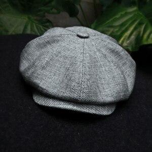 Image 2 - Casquette Four Seasons Cotton And Linen Black Mens Newsboy Hat Male Beret Men And Women Retro England Visor Big Head Cap BLM20