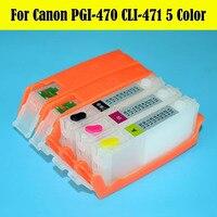6 대/몫 5 색 PGI-470 CLI-471 리필 잉크 카트리지  캐논 pixma mg6840 mg5740 용 470 471 영구 칩 포함