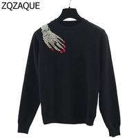 Luxury Diamonds Beading Bottom Knit Tops For Womens Brand Designer Sequined Hand Pattern On Shoulder Pullover