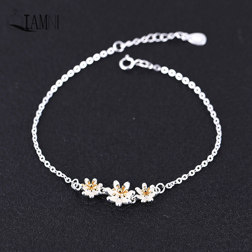 QIAMNI 925 Sterling Silver Beautiful Seven Leaf Flower Chain Bracelet Bangle Christmas Gift Love Wedding Jewelry for Girls Women