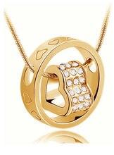 Ожерелье с круглой подвеской в форме сердца aaaaa + стразы модные