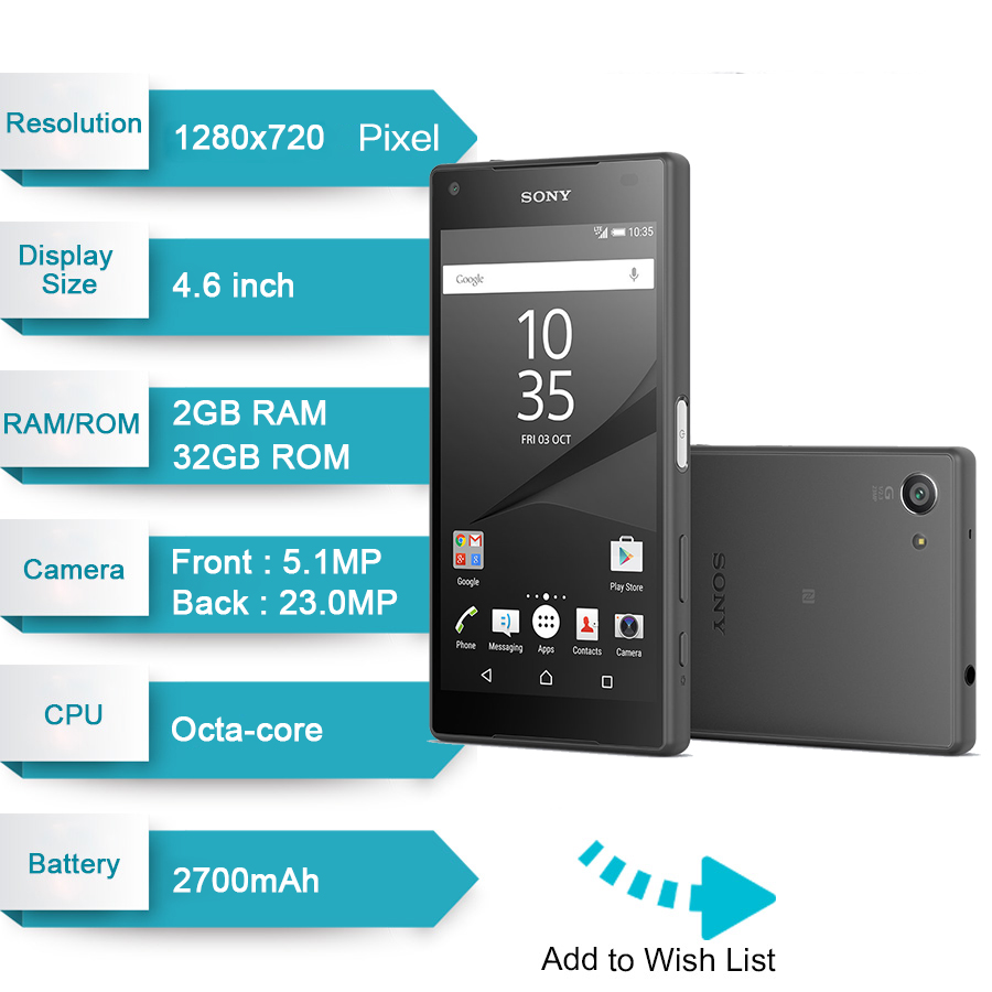 Image 2 - Original Sony Xperia Z5 Compact E5823 Unlocked 2GB RAM 32GB ROM Android Quad Core&Quad Core 23MP GSM Smart Phone-in Cellphones from Cellphones & Telecommunications