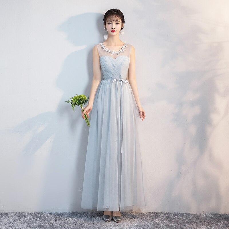 New  Female Long Bridesmaid Dress Sister Dress Blue Gray Wedding Yarn Mesh   Dress