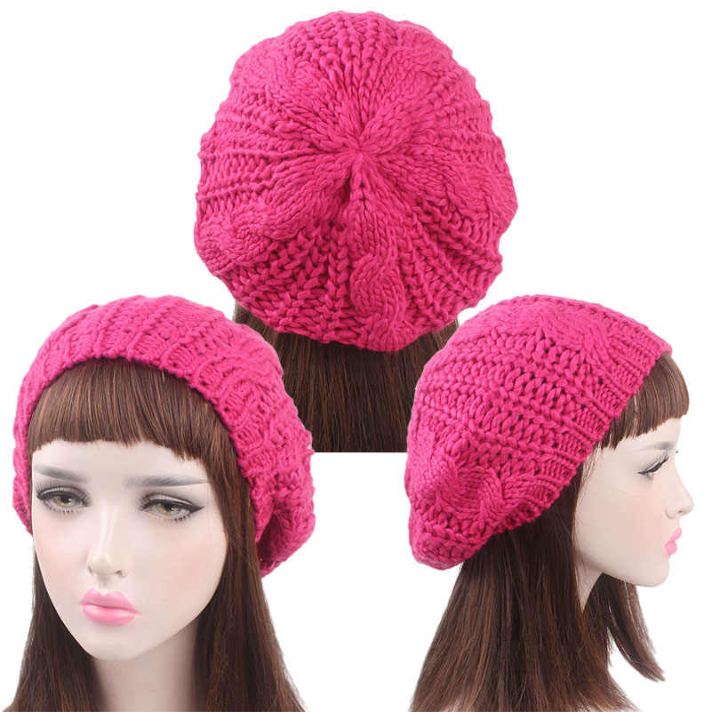 712b54b04e7cb Fashion Lady Girl Twisted Hemp Flower Beret Women Warm Knitted Beanie Hat  Multicolor Winter Handmade Knitting